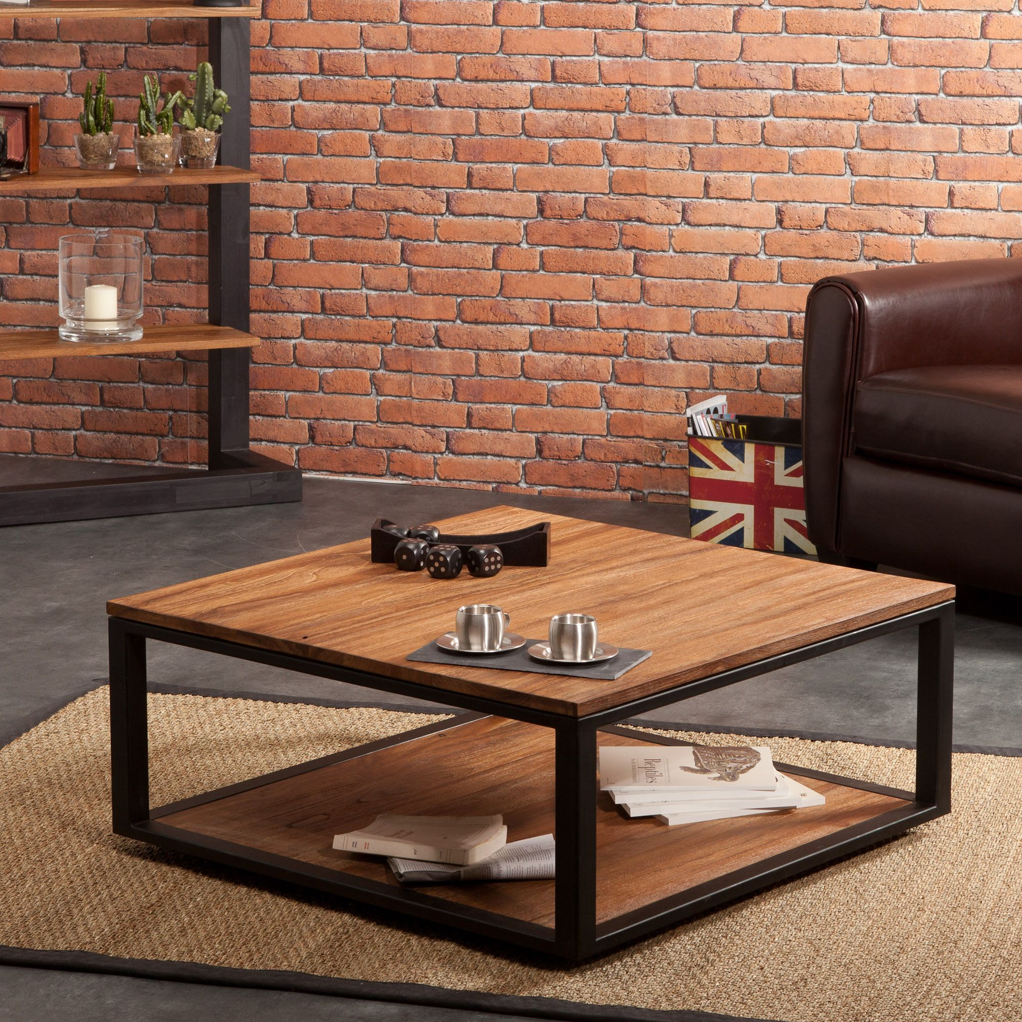 Table Basse Carree En Teck Pieds En Metal Sotra Mobilier