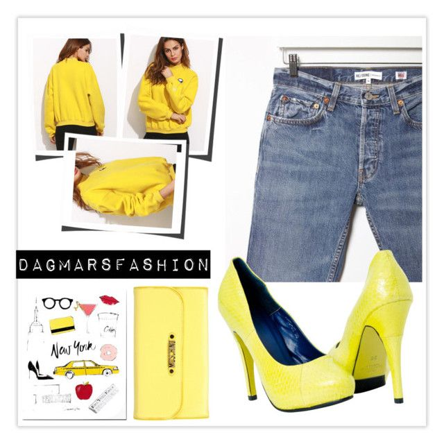 """yellow"" by dagmarsfashion ❤ liked on Polyvore featuring Moschino and RE/DONE"