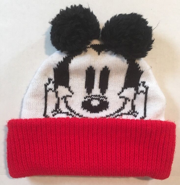 734f89218 Vintage Disney Mickey Mouse Kids Adults Beanie Winter Hat Pom Pom ...