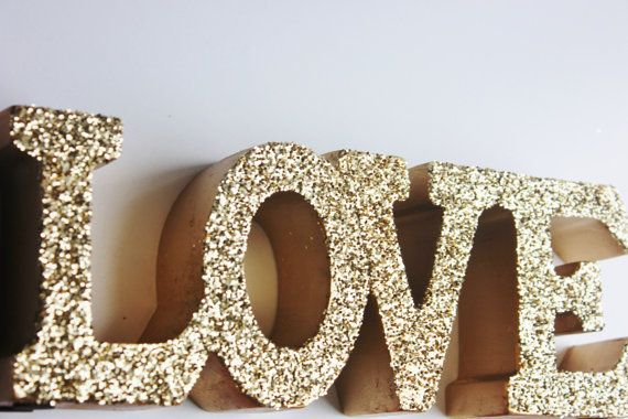 LOVE or HOME Glitter Word Stand Wooden Decorative Freestanding Sign Letters