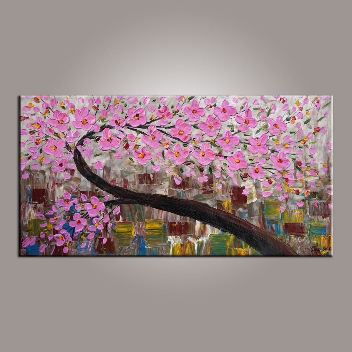 canvas art, flower tree painting, abstract art painting, painting