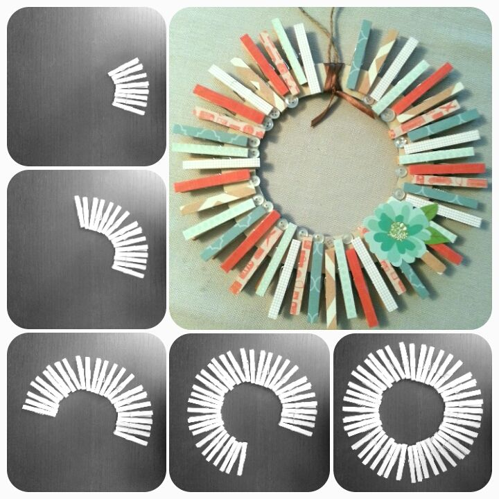 Thrifty Crafting - DIY Clothes Pin Wreath for under $5 - Great craft idea for the kiddies | Polkadot Pirates