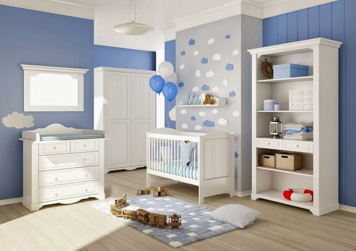 Babyzimmer Set Blaue Wände Und Grau
