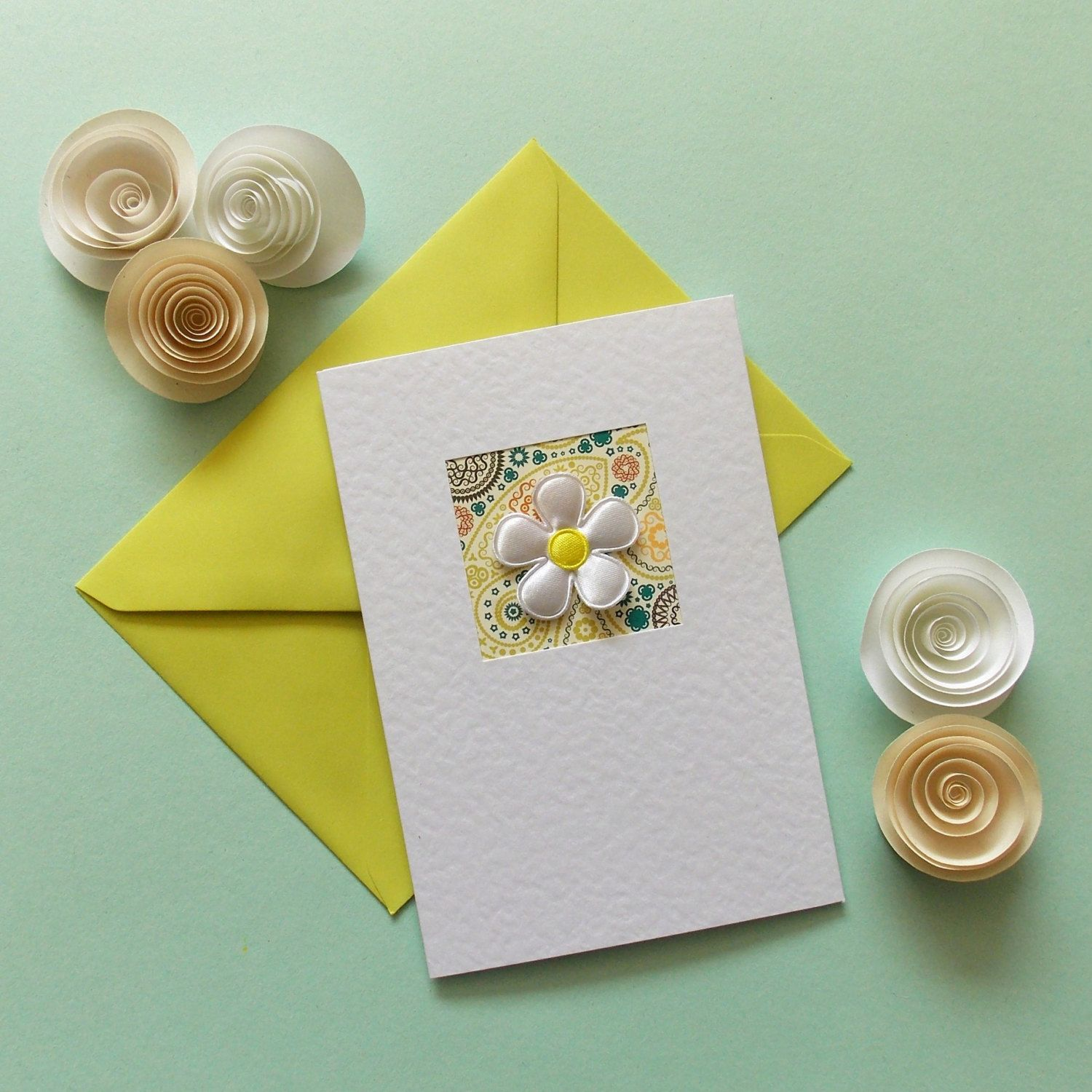 Blank card for her hand made greeting card girlfriend white