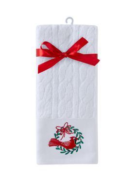 Celebrate Tradition Set of 2 Cardinal Wreath Holiday Hand Towels #handtowels