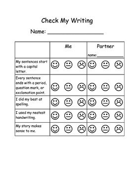 Student Writing SelfCheck Assessment Rubric W Partner Check