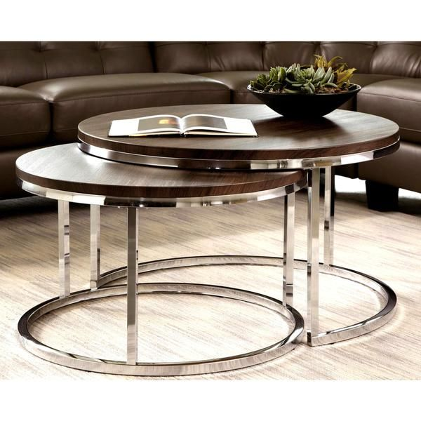 Mergot modern chrome 2 piece cocktail round nesting table for Modern nesting coffee tables