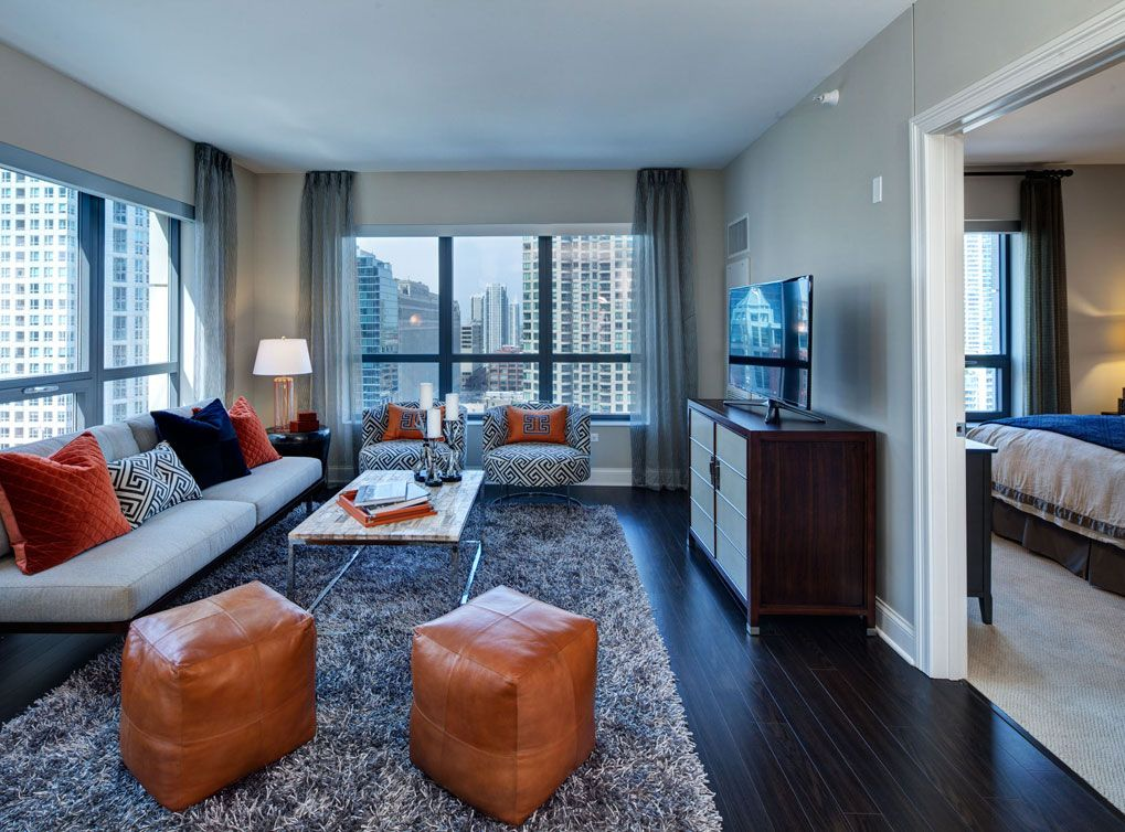 Superior Model Living Room At AMLI River North, A Luxury Apartment Community In  Chicago.