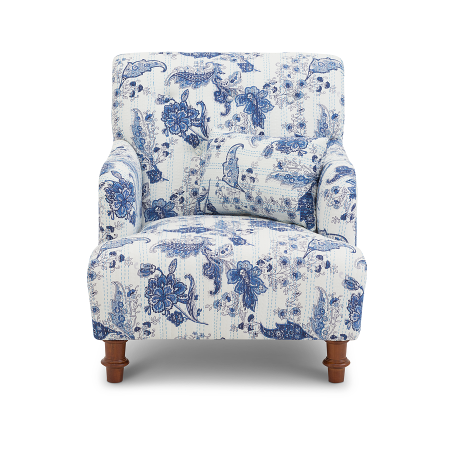 Embrace Coastal EleganceSeaside Accent Chair In Nautical Navy And White Floral Upholstery In