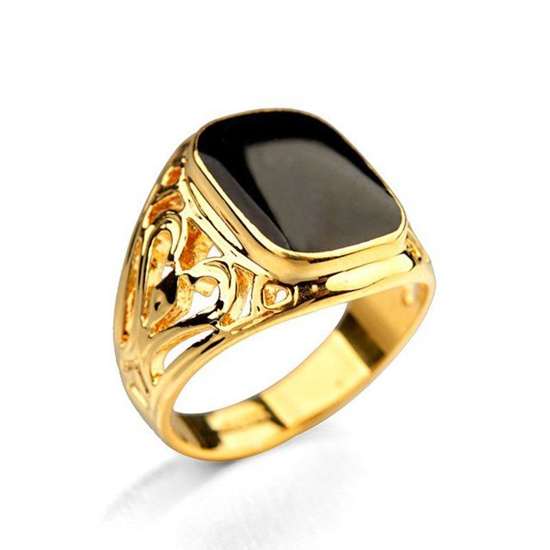 High Quality Oil Dripped Black Ring for Man Fashion Hollow Design ...