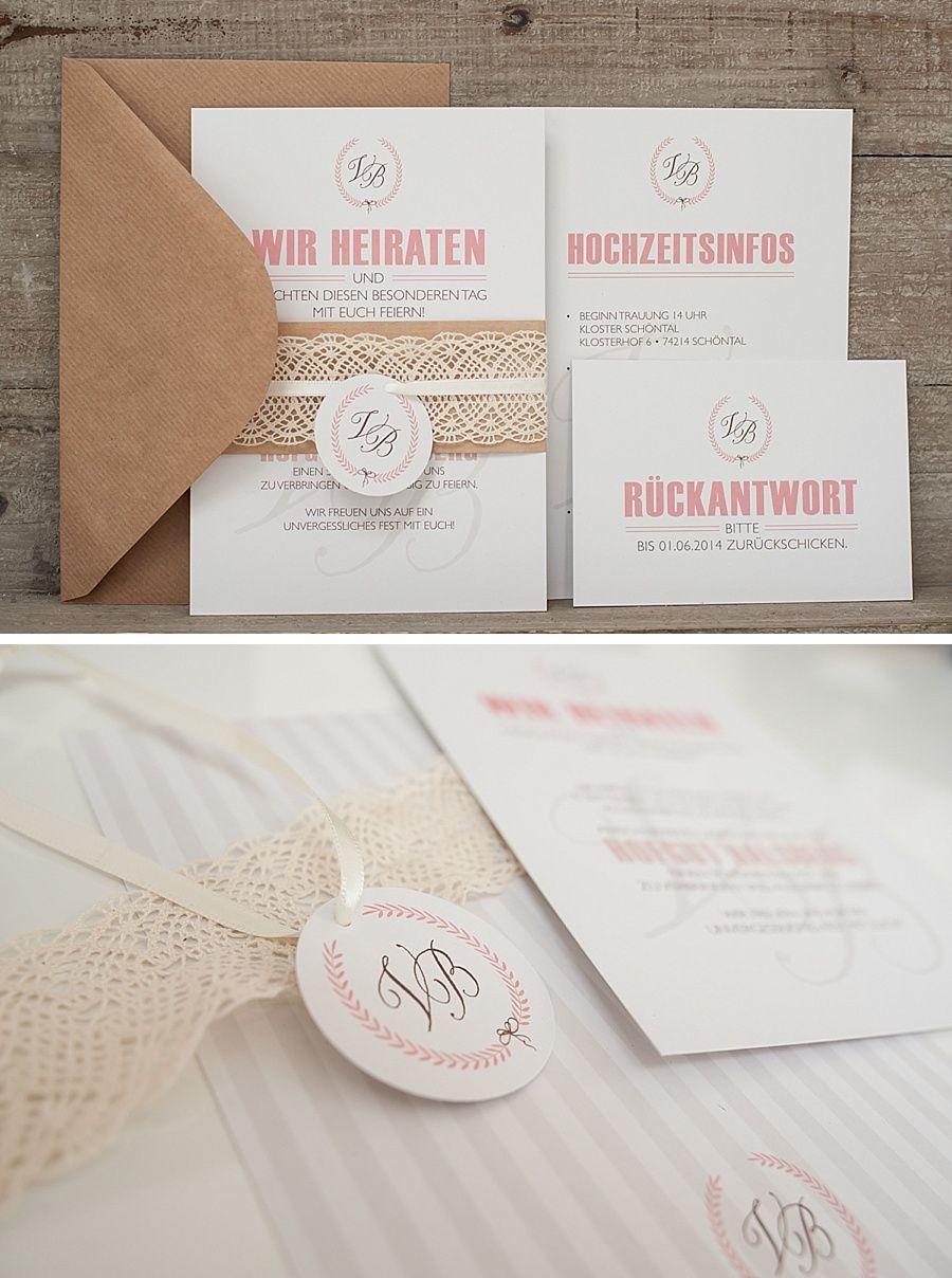 Hochzeitseinladung im Vintage Stil Kraftpapier Spitze Hangtag