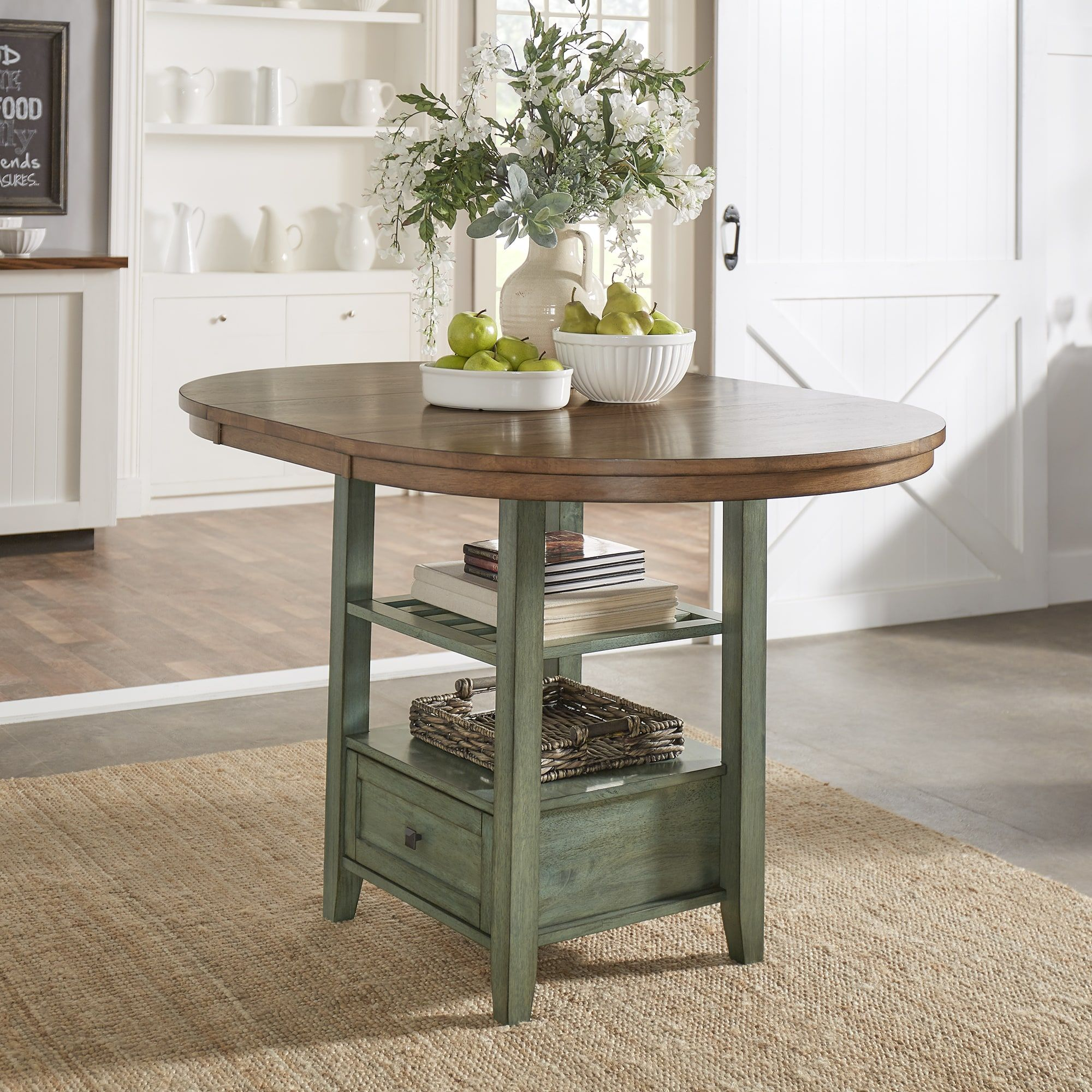 Eleanor Solid Wood Oval Extendable Counter Height Pedestal Base Dining Table  from iNSPIRE Q Classic