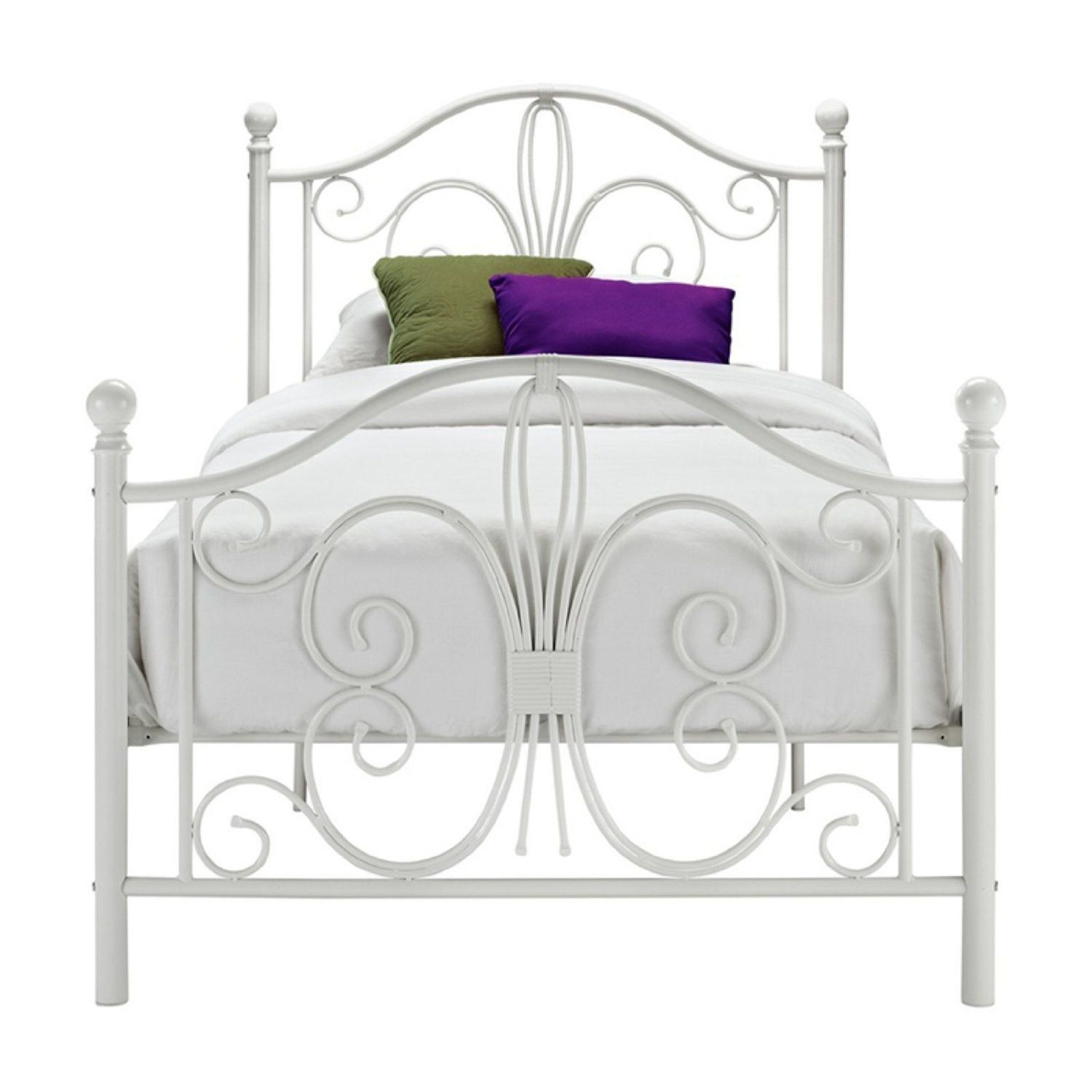 Twin White Metal Platform Bed Frame with Headboard and