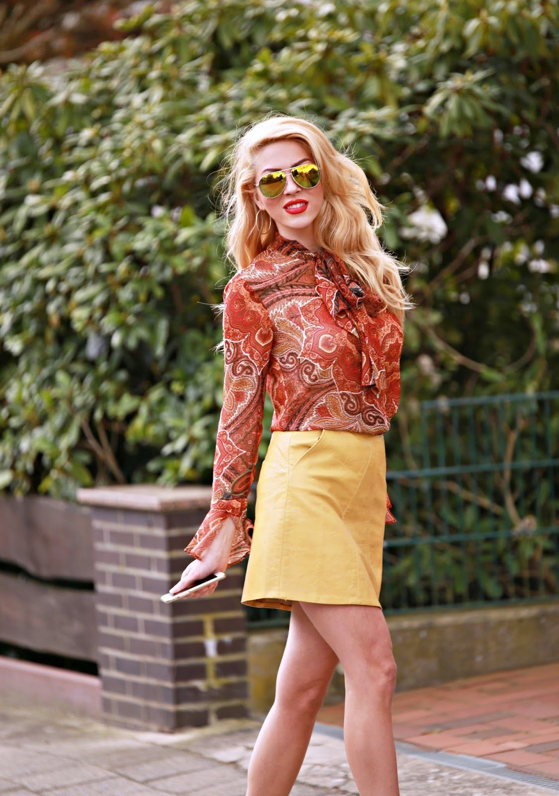 mustard skirt, orange blouse @roressclothes closet ideas #women fashion outfit #clothing style apparel