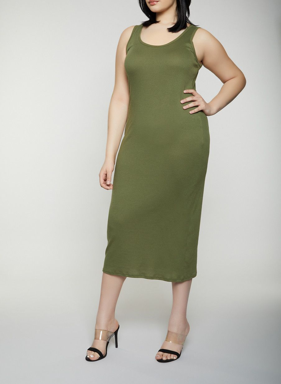 9e3c28eefb4 Plus Size Basic Ribbed Knit Tank Dress - Green - Size 2X in 2019 ...