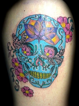 Girl Skull Tattoo Designs I Would Change The Blue To Another Color Otherwise Love This Sugar Skull Tattoos Doll Tattoo Ribcage Tattoo