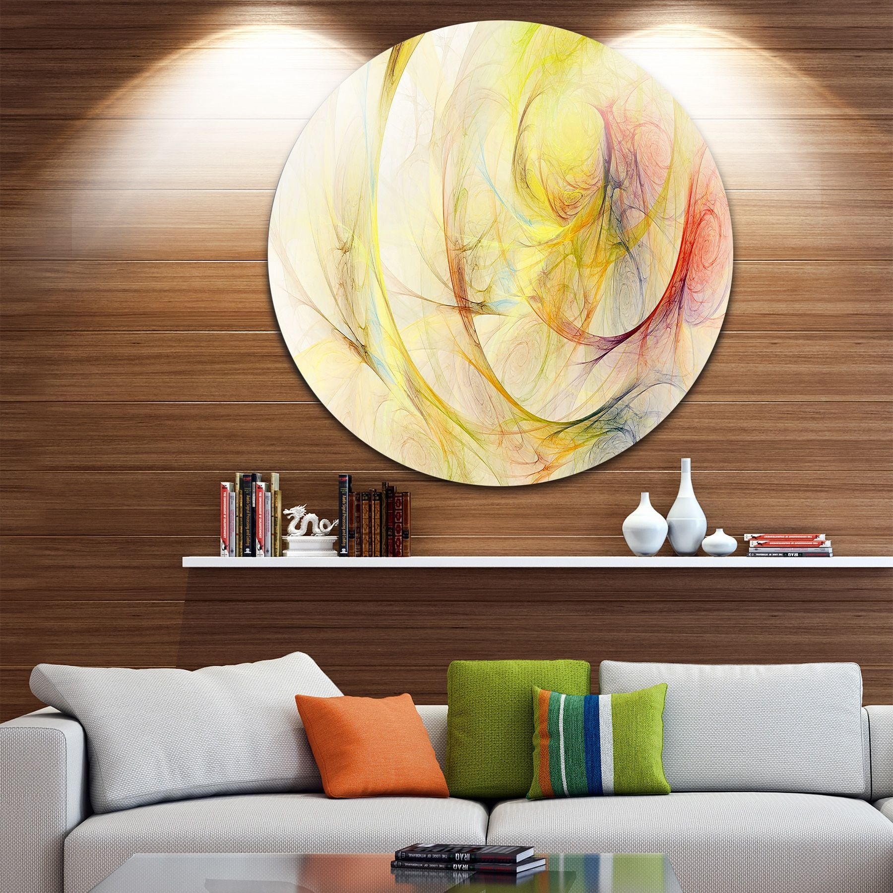 Designart \'Yellow Storm Sky\' Abstract Digital Art Circle Wall Art by ...