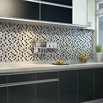 Amazon Com Ecoart Peel And Stick Self Adhesive Wall Tile For Kitchen Bathroom Backsplash Mosaic Kitchen Wall Tiles Tile Backsplash Self Adhesive Wall Tiles