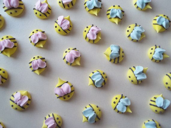 Royal Icing Baby Shower Bees Made To Order Edible Handmade Cupcake Toppers Cake Decorations Pieces