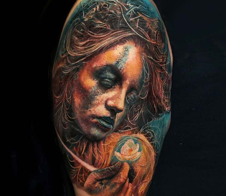 Forest Girl Tattoo By Boris Tattoo Post 24902 Mother Nature Tattoos Girl Tattoos Portrait Tattoo
