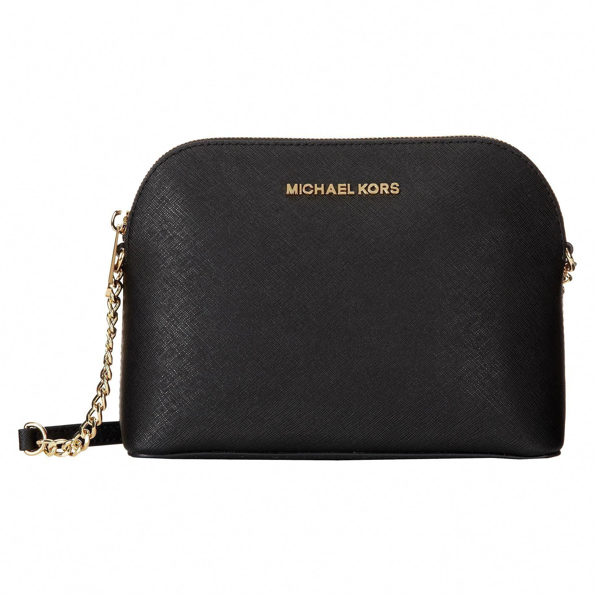 8a3dd9796ddc Michael Michael Kors Cindy Black/ Gold Saffiano Leather Dome Handbag  (Black/Gold)
