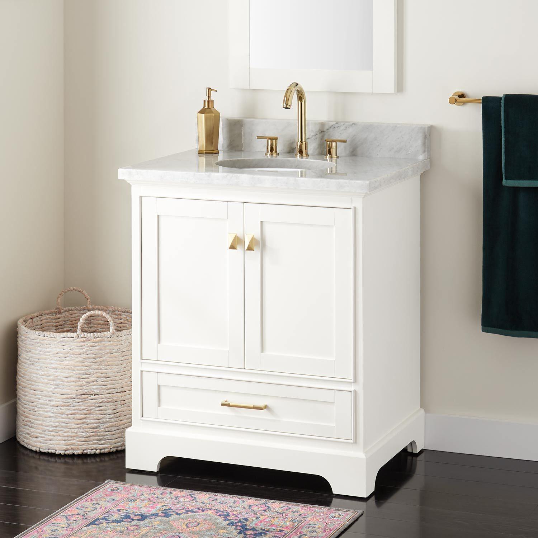 30 Quen Vanity For Undermount Sink White Signature Hardware Vanity Sink Single Bathroom Vanity [ 1500 x 1500 Pixel ]