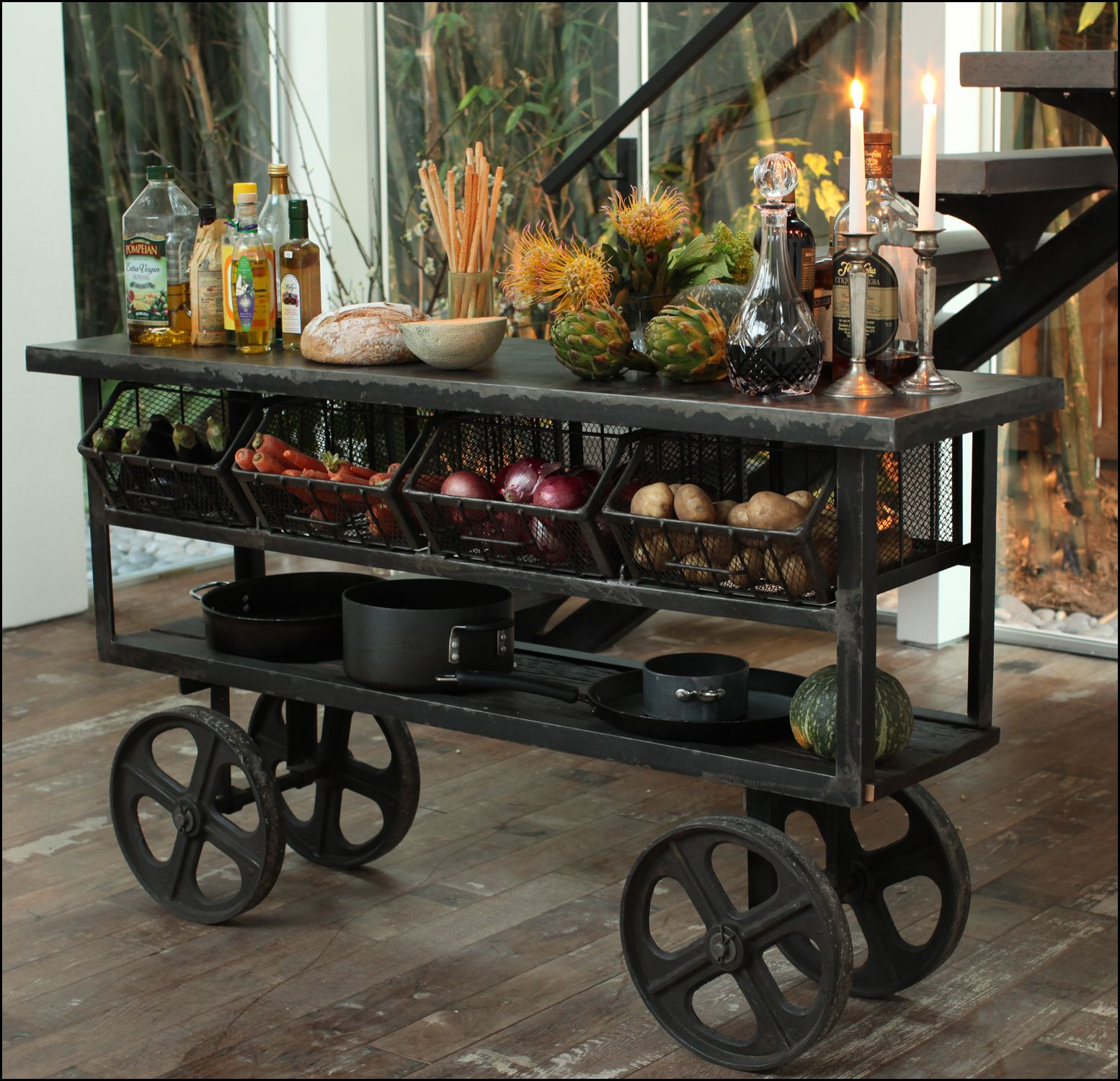 Rustic Kitchen Trolley Cart, metal and wood kitchen trolley cart www.Taramundifurniture.com