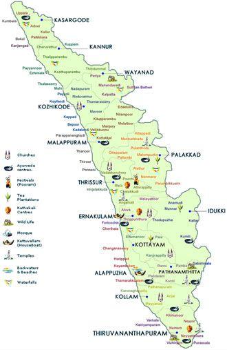 map of kerala tourism India Kerala Travel Map Kerala Travel Kerala Tourism map of kerala tourism