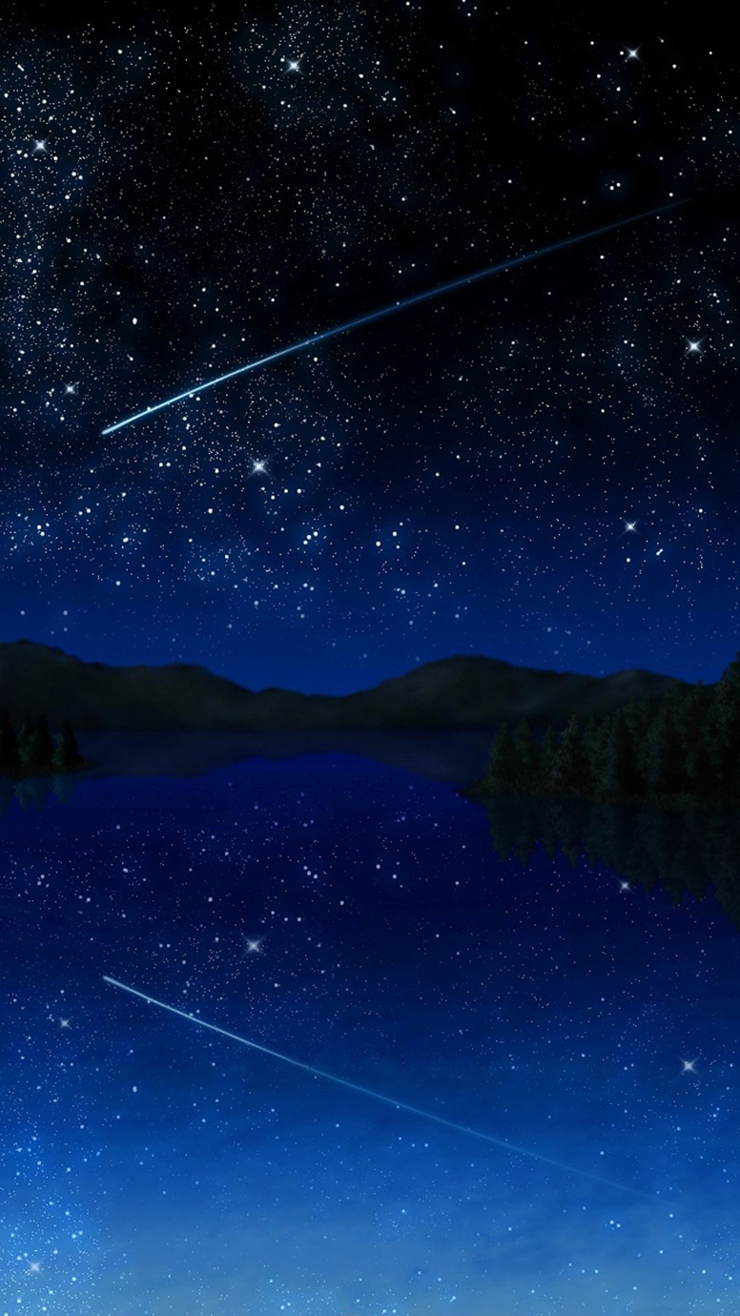 人気151位 流れ星の夜 2020 流れ星 イラスト 壁紙 夜空 イラスト