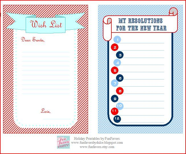 New years resolution templateu003dThis blog has a few good templates I - printable christmas list template