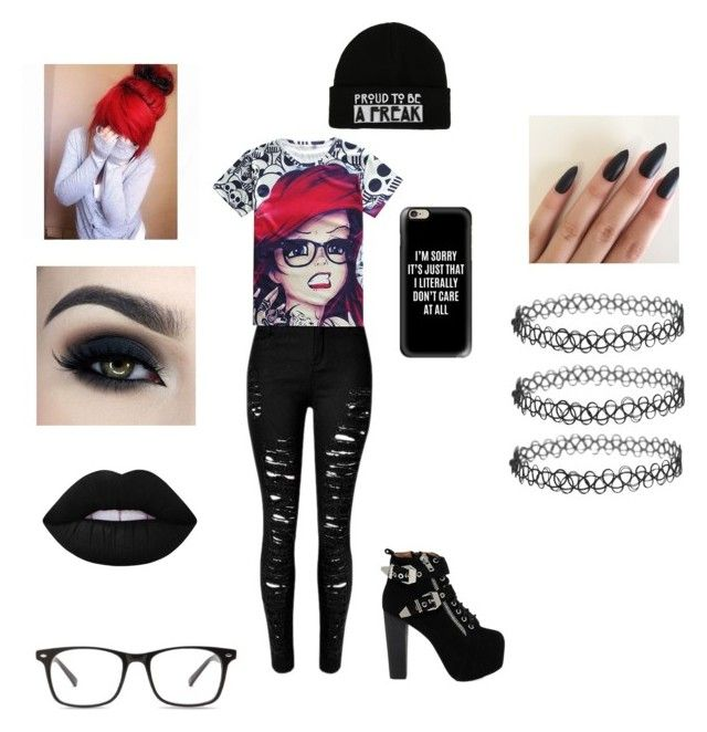 Beautiful goth :))) by saharaali on Polyvore featuring polyvore beauty Lime Crime Casetify Jeffrey Campbell Too Faced Cosmetics