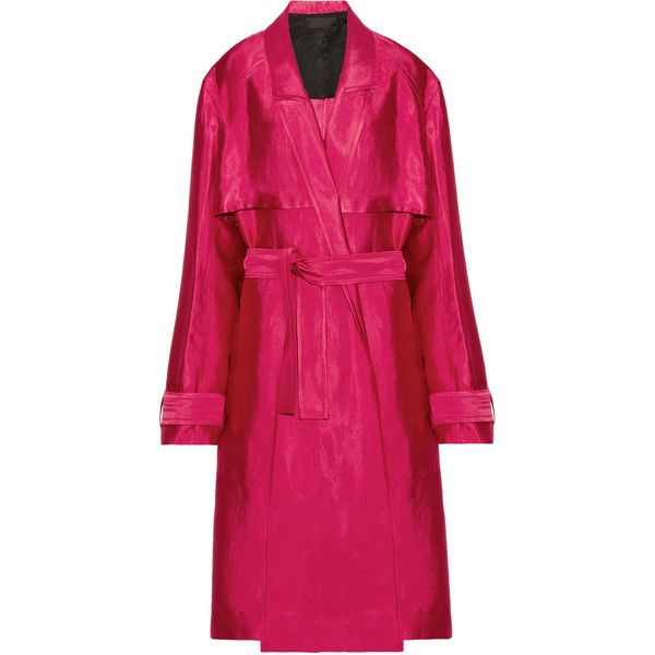 Haider Ackermann Linen-blend trench coat ($1,660) ❤ liked on Polyvore featuring outerwear, coats, oversized coat, oversized trench coat, pink oversized coat, haider ackermann and trench coat