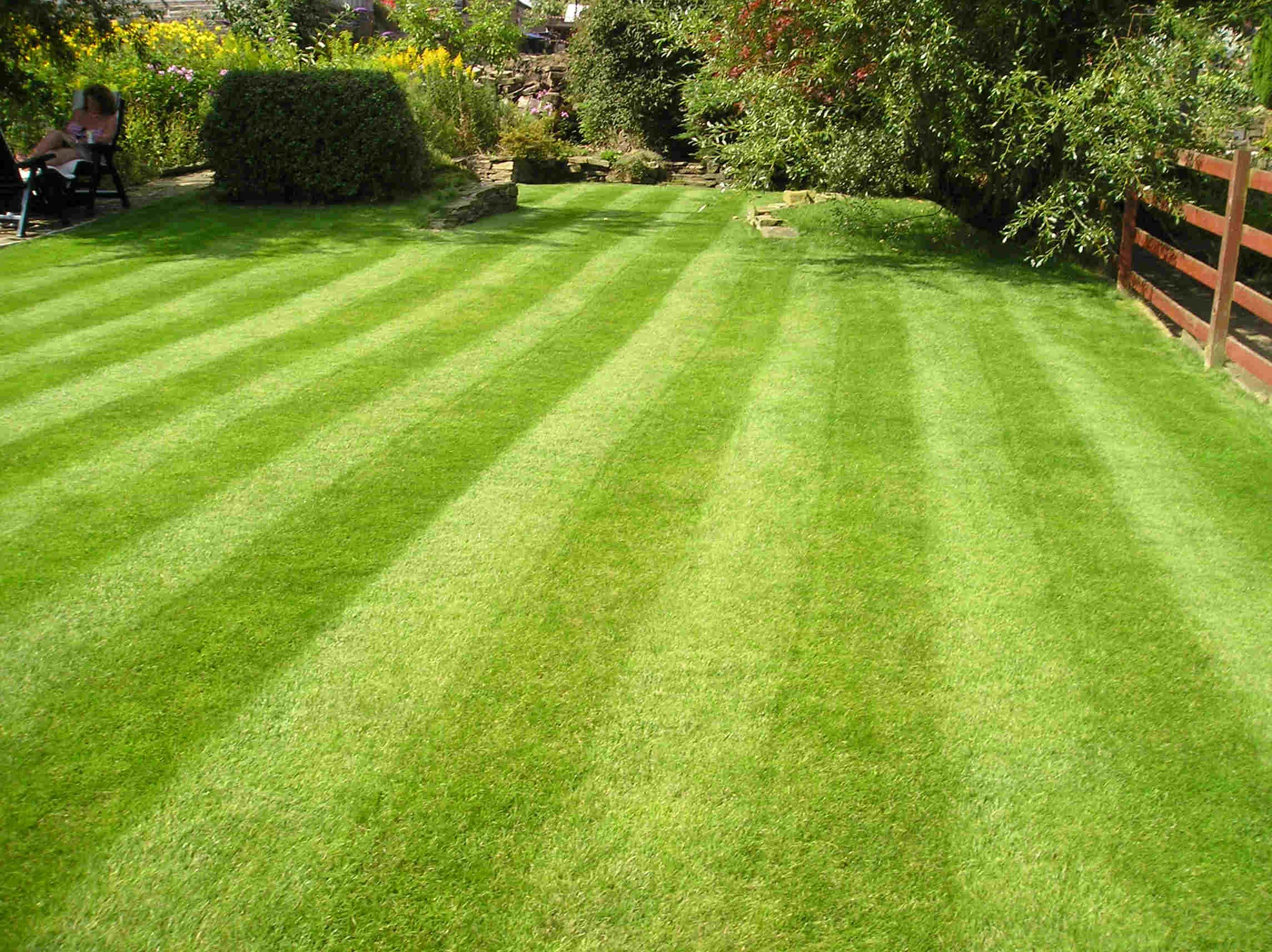 Call me crazy but something about a fresh mowed lawn for Garden design service