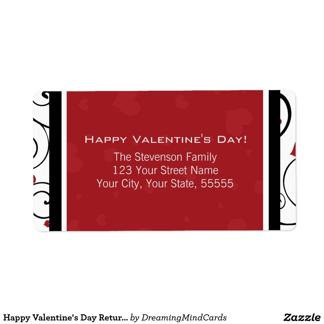 Happy Valentines Day Return Address Labels Red Pinterest Return - Custom shipping label template