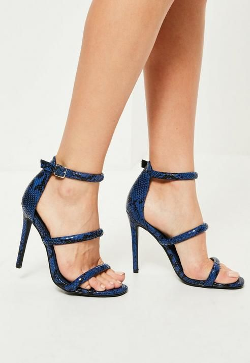2c2dc86d6860 Missguided Blue Snake Print Three Strap Barely There Heels ...
