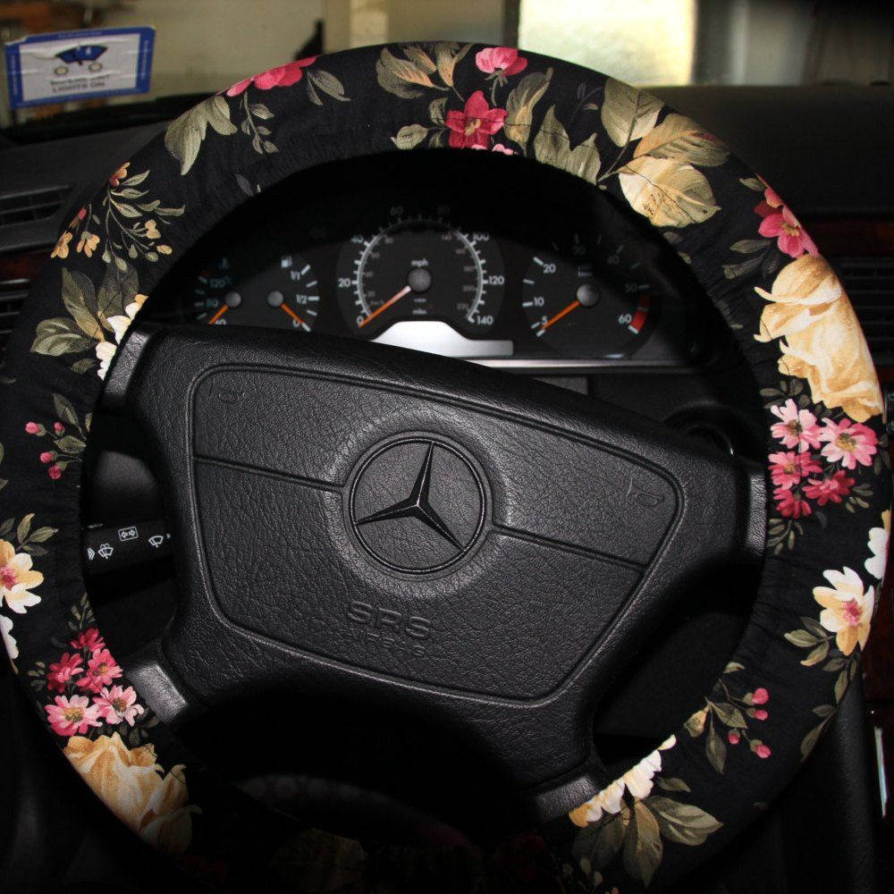 Black Floral Steering Wheel Cover.  Classic Floral Wheel Cover   Etsy