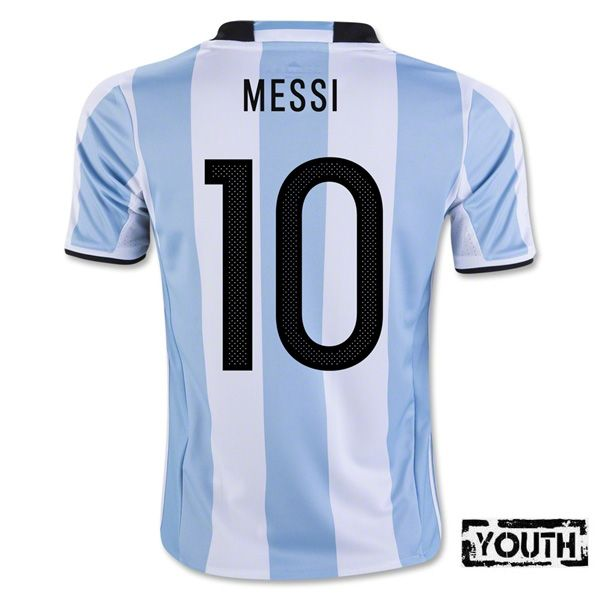 huge discount 71ff7 f507a Lionel Messi Youth Home Soccer Jersey 2016 Argentina #10 ...
