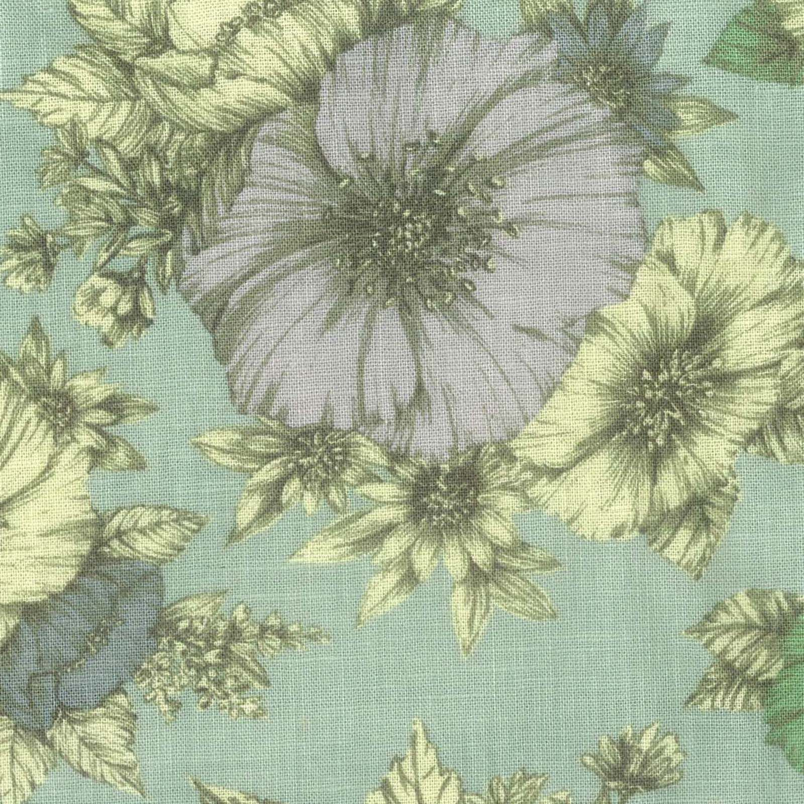 Fashion Linen Fabric- Vintage Floral Aqua LinenFashion Linen Fabric- Vintage Floral Aqua Linen,