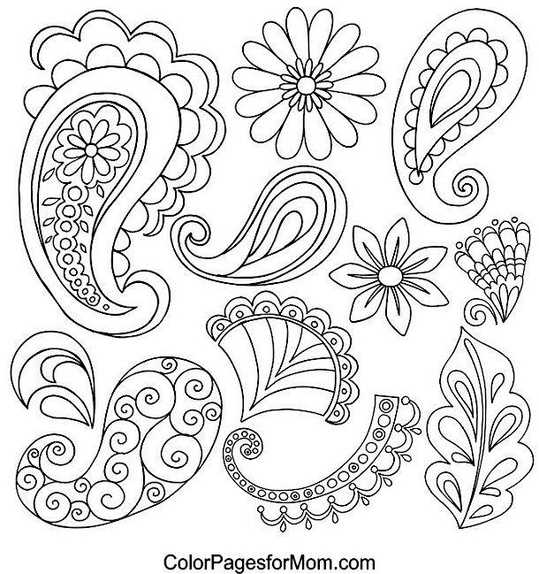 Paisley coloring page | Small motifs | Pinterest | Bordado, Pintura ...