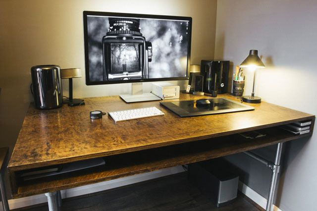 how i built a custom desk and wire free workspace for my photo editing - Custom Desk Design