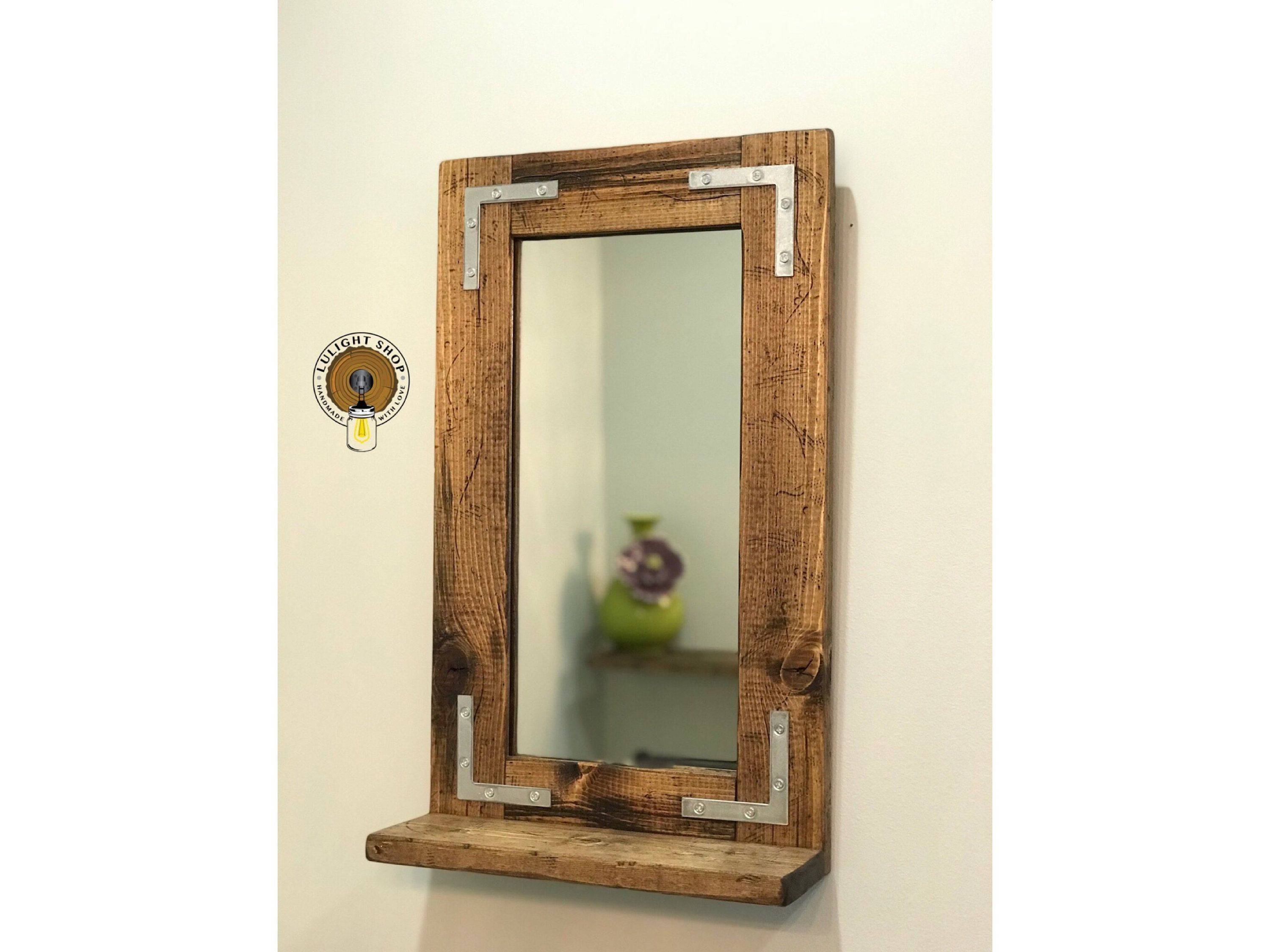 Rustic Distressed Mirror With Shelf Small Mirror Bathroom Mirror Framed Mirror Wall Mirror Wood Mir Bathroom Mirror Frame Mirror With Shelf Rustic Mirrors