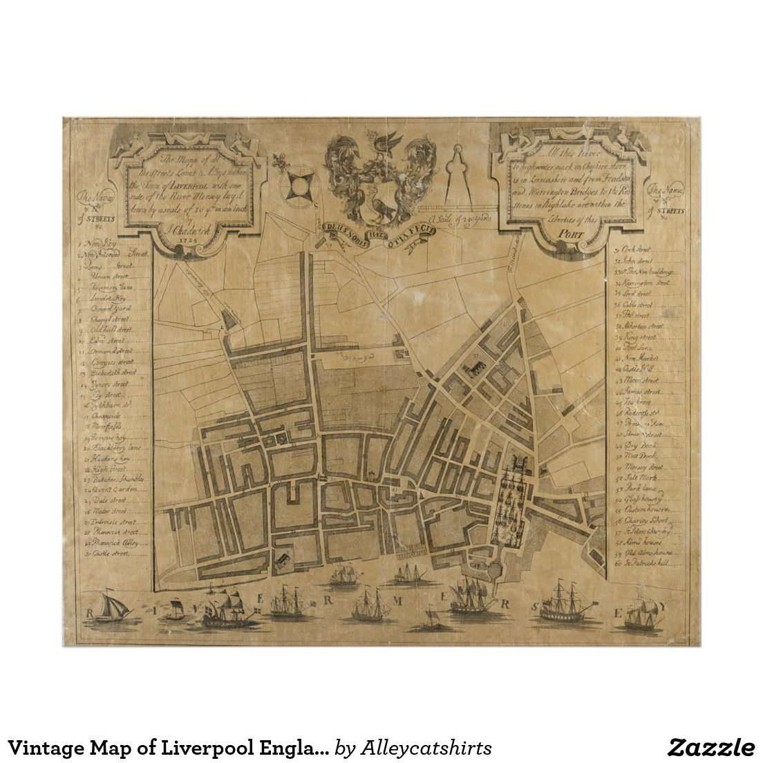 Vintage Map of Liverpool England (1725) Poster