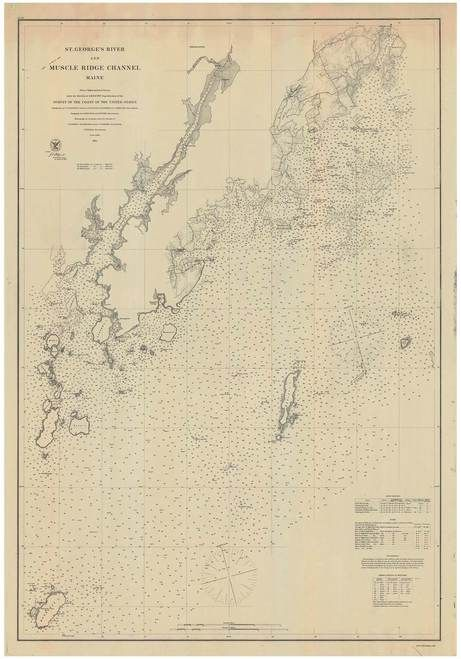 St George River And Muscle Ridge Channel 1878 B Old Map Nautical Chart Ac Harbors 3 312 Maine Old Map Nautical Map Old Maps