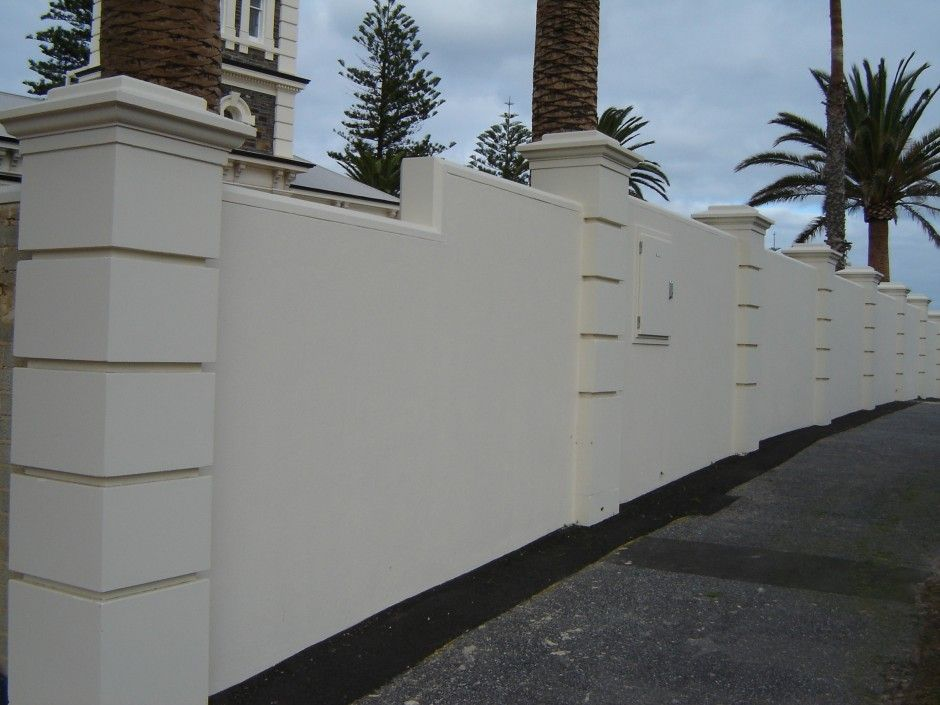 Solid With Caststone Pillars Modern Boundary Wall