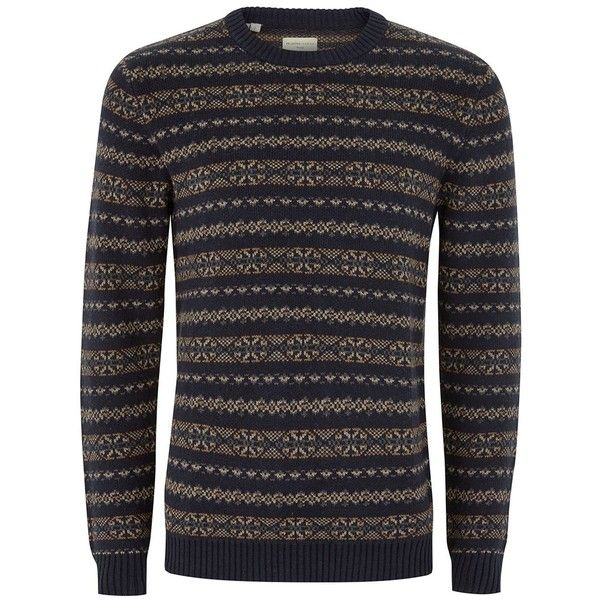 TOPMAN Selected Homme Navy Fairisle Knit Jumper (240 BRL) ❤ liked ...
