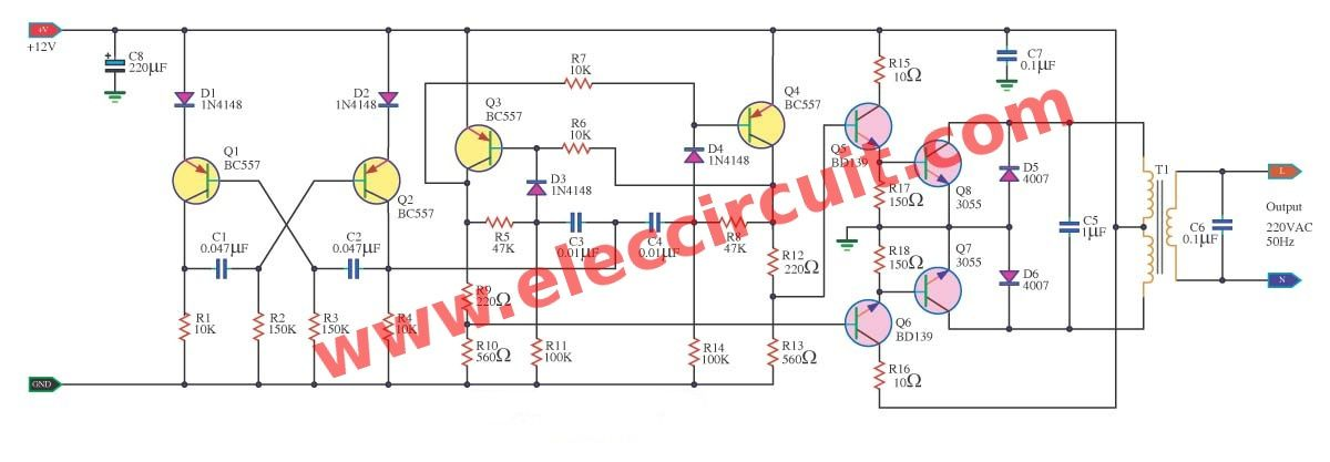 100w Inverter Circuit 12v To 220v 100w By Transistor Eleccircuit Com In 2020 Circuit Transistors Electronic Circuit Projects