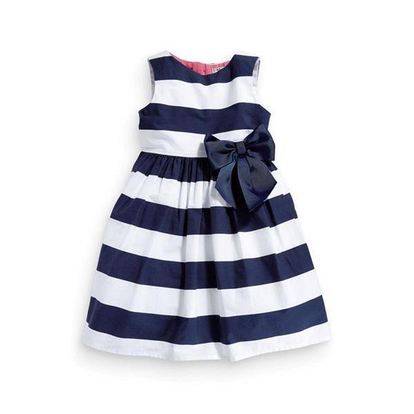 Baby Kid Girls One Piece Dress Blue White Striped Bow Summer Tutu