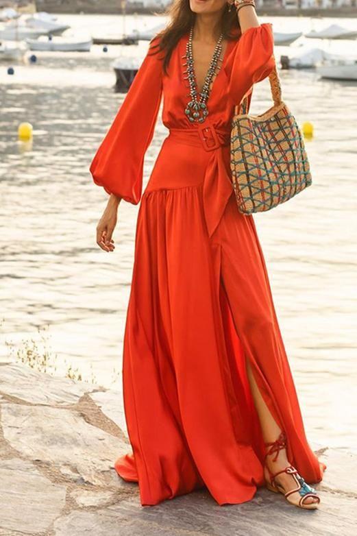 Fashion Deep V-Neck Long Lantern Sleeve Plain High Slit Women Dress