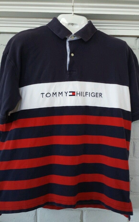 Vtg Tommy Hilfiger Spell Out Polo Golf Shirt Rugby Sport