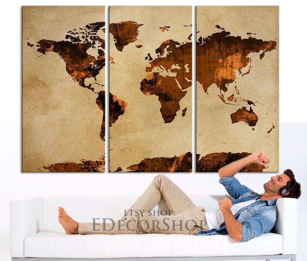 Dark orange and brown world map canvas print on old wall vintage dark orange and brown world map canvas print on old wall vintage large size world gumiabroncs Choice Image